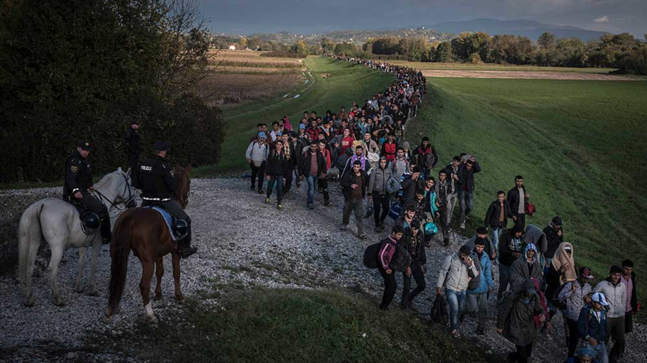 Migrants in Dobova, Slovenia, 2015.