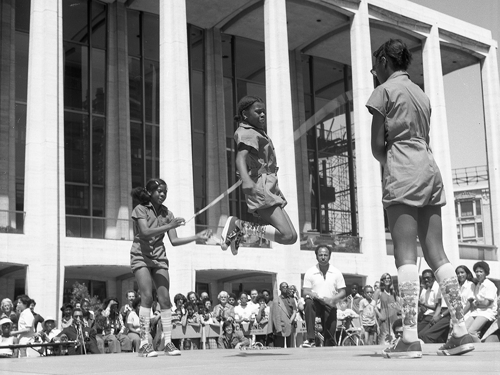 Double Dutch competitors at Lincoln Center in the 1970s