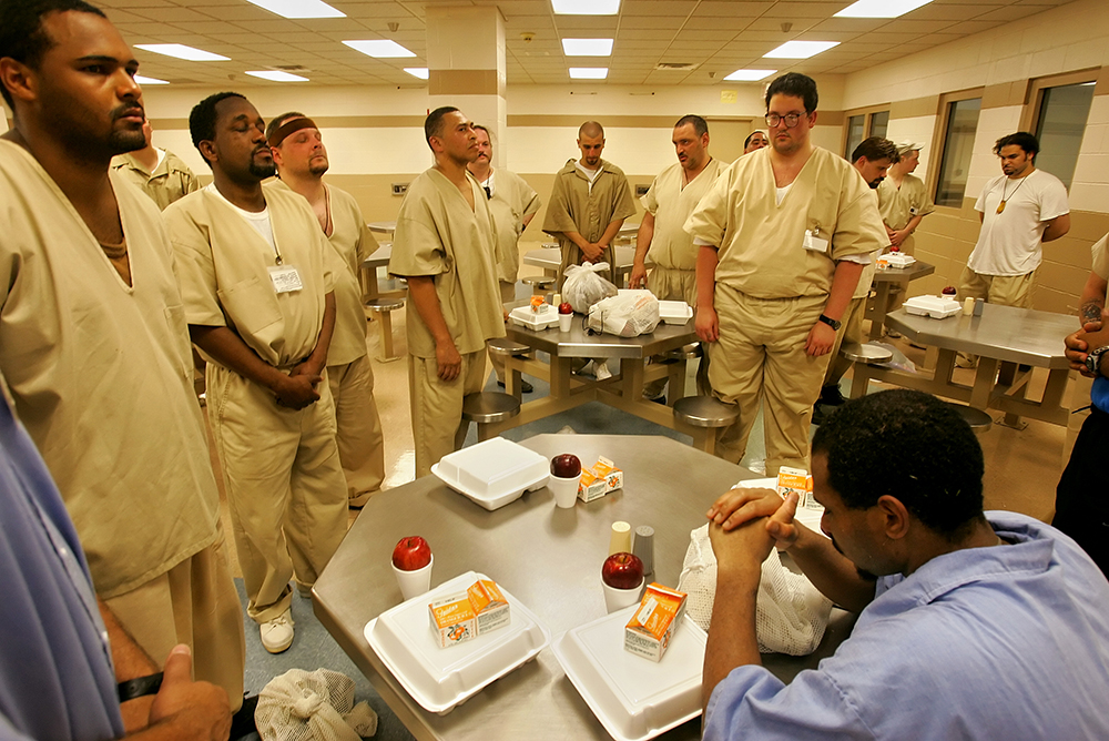 Prisoners pray at the MacDougall-Walker Correctional Facility in Connecticut, 2005.